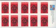 Aus SG2589a 50c Greeting Stamp: Roses self-adhesive booklet pane (SB197)